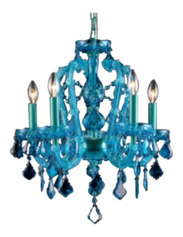 Aqua Blue Crystal Chandelier on Chairish.com
