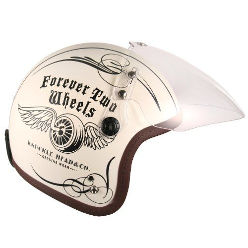 (F4 Jet-include Shield) Motorcycle Scooter Open Face 3/4 Three Quarter Jet Helmet Vintage Retro Style Helmets (White (Two Wheel Decal))