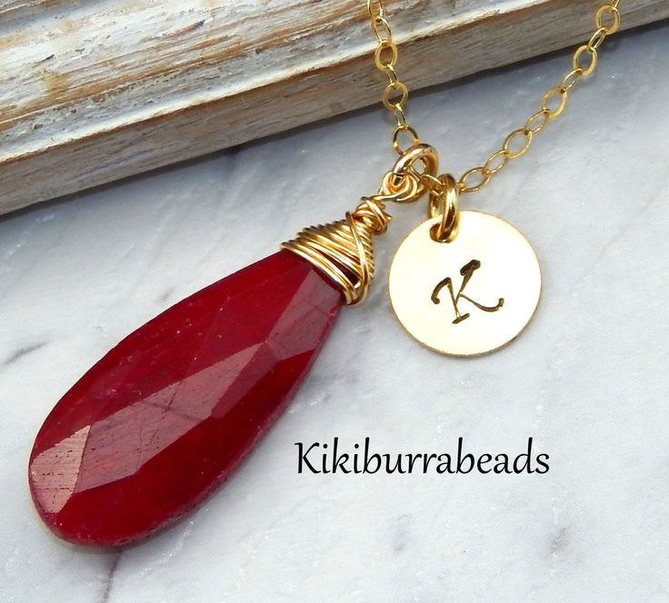 Ruby Necklace,July Birthstone Necklace,Personalized Initial Necklace,40th Anniversary Gift by Kikiburrabeads on Etsy