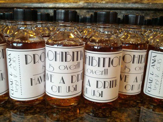 Party Favor: 'End of Prohibition' Labeled Mini Bottles!
