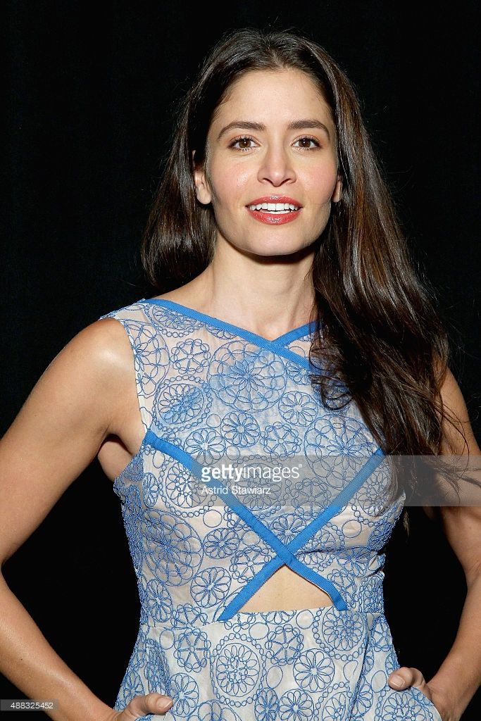 Actress <a gi-track='captionPersonalityLinkClicked' href=/galleries/search?phrase=Mercedes+Mas%C3%B6hn&family=editorial&specificpeople=7023783 ng-click='$event.stopPropagation()'>Mercedes Masöhn</a> backstage at Angel Sanchez Spring 2016 during New York Fashion Week: The Shows at The Dock, Skylight at Moynihan Station on September 15, 2015 in New York City.