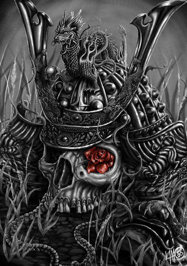samurai skull and dragon