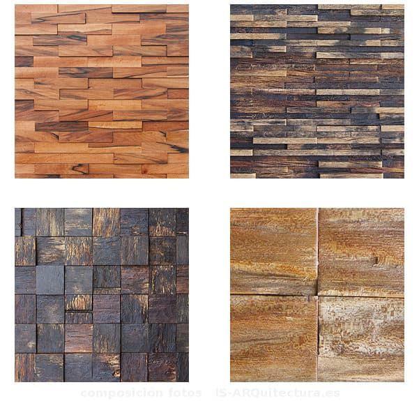 Texturas y características de la colección Fusión de paneles decorativos de madera para revestimiento de paredes. Hechos con madera reciclada de toneles de vino.