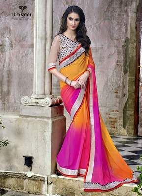 Magnificent Multi Colored Border Worked Faux Georgette Saree Sarees on Shimply.com