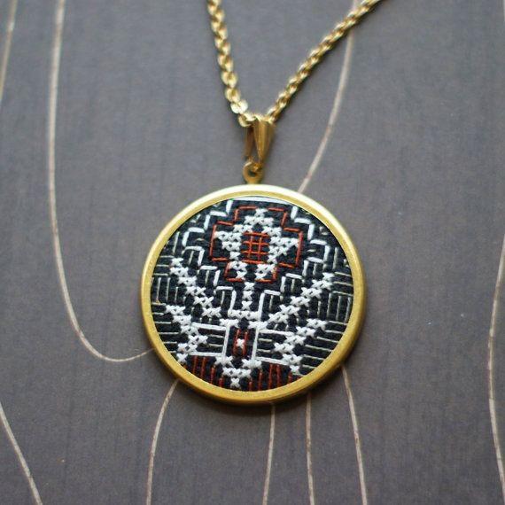 Desert flower cross stitch necklace/ pendant by TheWerkShoppe, $38.00