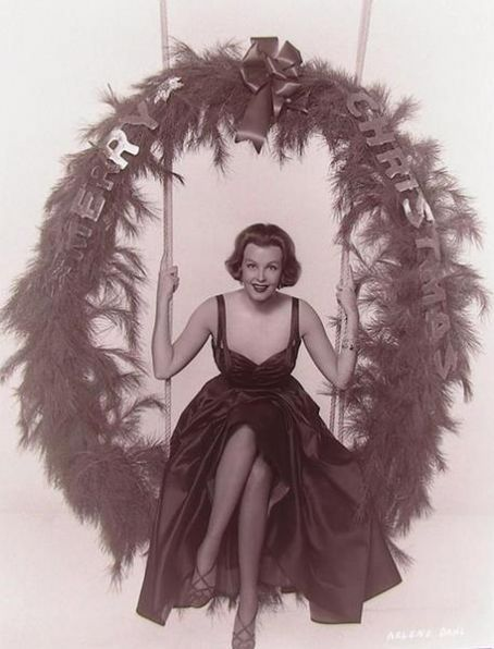 Actress Arlene Dahl swinging by to wish you a very merry Christmas. #actresses #vintage #Christmas
