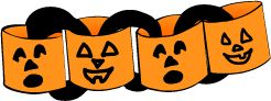 """In advance, cut a supply of 3"""" x 12"""" strips of orange construction paper. Invite each child to create a jack-o'-lantern face in the center of an orange strip using markers, crayons, or black construction paper scraps and glue. Roll the finished strip into a loop and staple the ends together. The result: a """"jack-o-loop""""!  Then form the jack-o-loops side by side so that both faces are toward you. Thread a black strip through the two jack-o-loops and staple the ends of the strip together."""