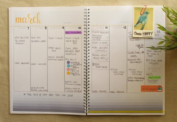 Planner spread using Cathartic Malarkey downloadable planning pages.