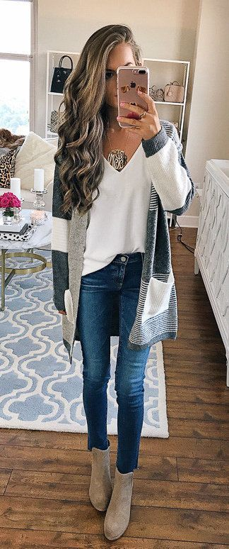 #fall #outfits women's white V-necks shirt, blue cardigan, blue-washed jeans and brown boots outfit
