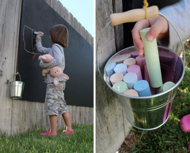 Mount a chalkboard on your fence and get creative.