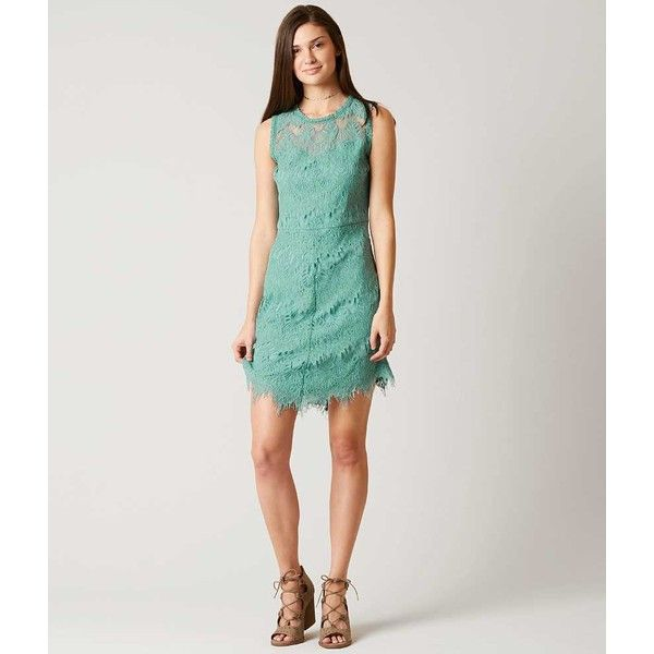 Women's Lace Dress in Turquoise by Daytrip. ($45) ❤ liked on Polyvore featuring dresses, turquoise, lined dress, high neck lace dress, lace lined dress, turquoise blue dress and turquoise lace dress