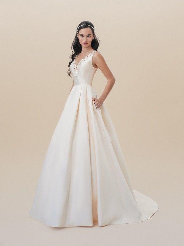 5948f58c4f87f Moonlight Tango T827 sleek sleeveless battenberg lace V-neck Mikado A-line  with full skirt and pockets #bridal #bridalgown #wedding #ballgown  #princess ...