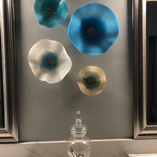 Blown Glass Wall Art Poppy Flower Teal Turquoise With Bright Etsy In 2020 Blown Glass Wall Art Glass Wall Art Glass Blowing