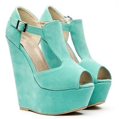 Teal wedge heels. Love these!!! Just wish it had the link to find them online :(