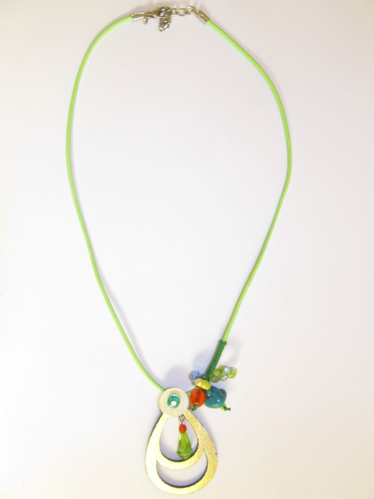 Handmade short leather necklace (1 pc)  Made with leather filigree, light green leather cord, turquoise stone, glass beads and wax cord.