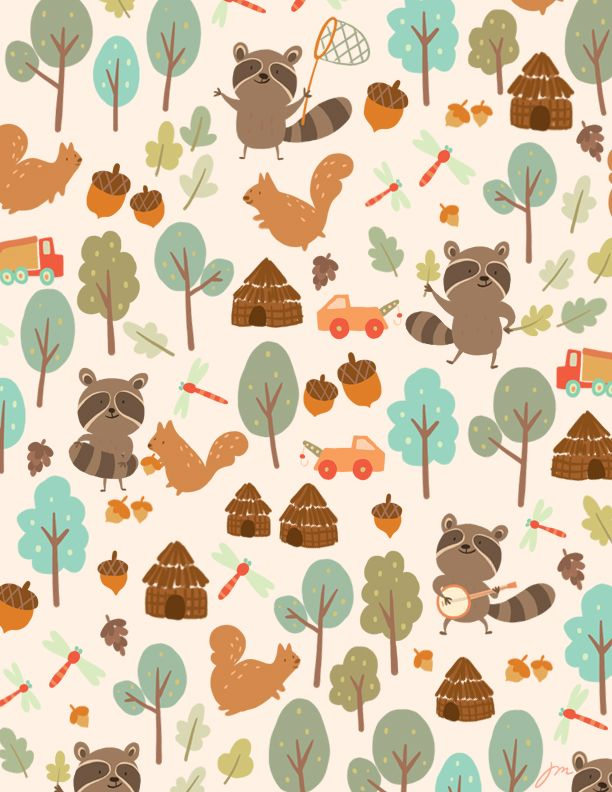 thispatternshit:  J.  this is a sample pattern I made for a job. boy raccoon and his hippie life style