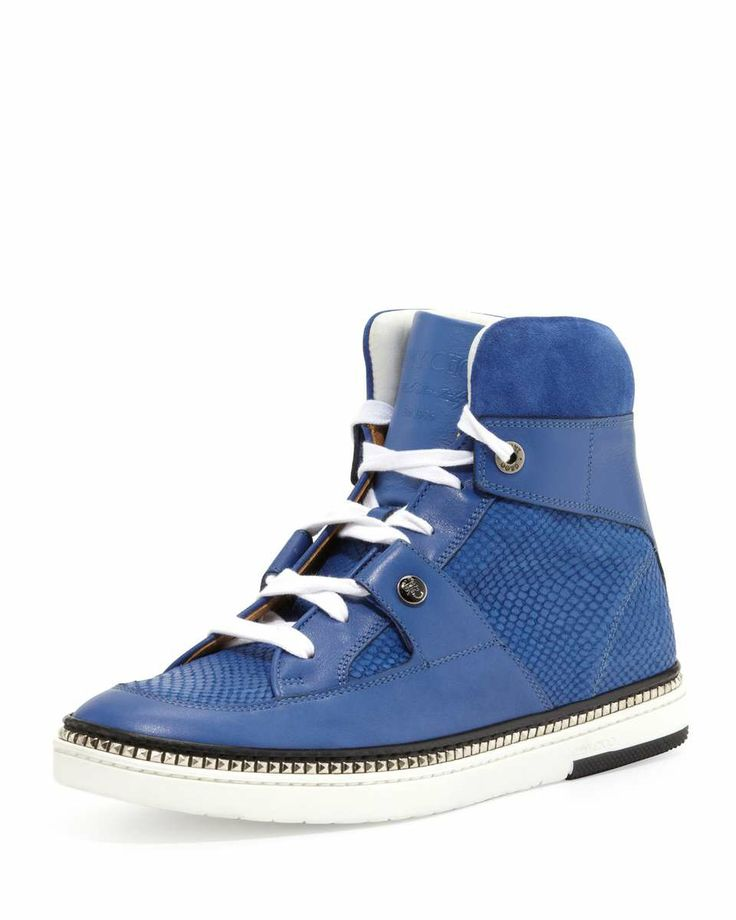 Jimmy Choo Barlowe Men's Viper-Print Leather High-Top Sneaker, Blue Shop  for more Athletic on Wantering.