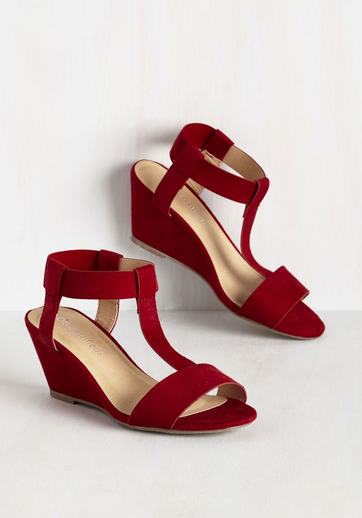 Amble Support Wedge - Mid, Red, Solid, Work, Girls Night Out, Daytime Party, Minimal, Good, Wedge, T-Strap, Red, Saturated