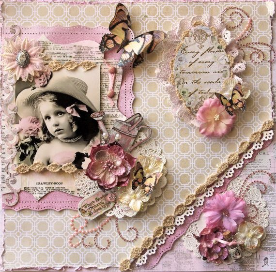 Seeds Premade Scrapbook Page Vintage Shabby Chic by reneabouquets