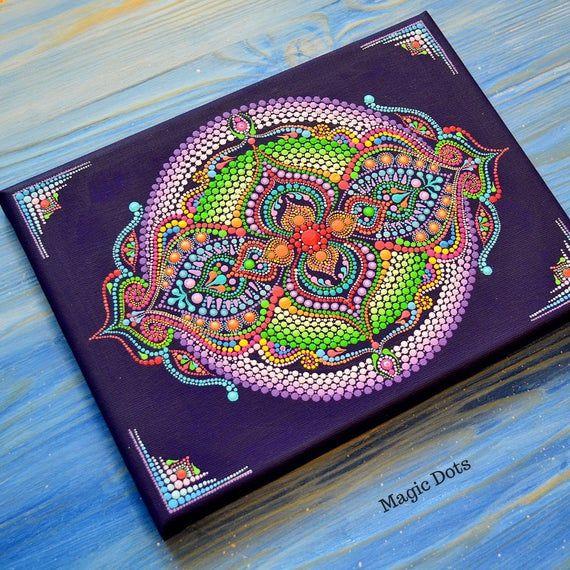 Mandala On Canvas Energy Mandala Sacred Geometry Dotting Spiritual Dot Art Mandala Dots Painting 9 7 Inches Medallion Good Luck Punktmalerei Mandalas Bilder Selbst Gestalten
