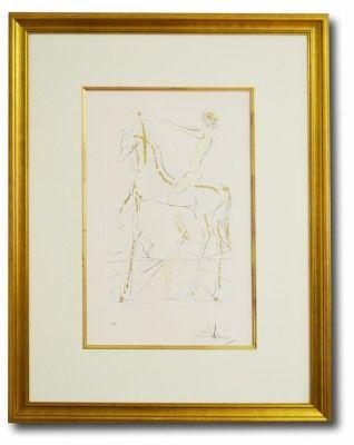 Titel: Der Reiter Künstler: Salvador Dali  Technik: Radierung auf Papier  Format: 620 x 800 mm Bild ist gerahmt  Sehr schöne Arbeit mit Goldprägung in einer hochwertigen Rahmung unter Museumsglas.