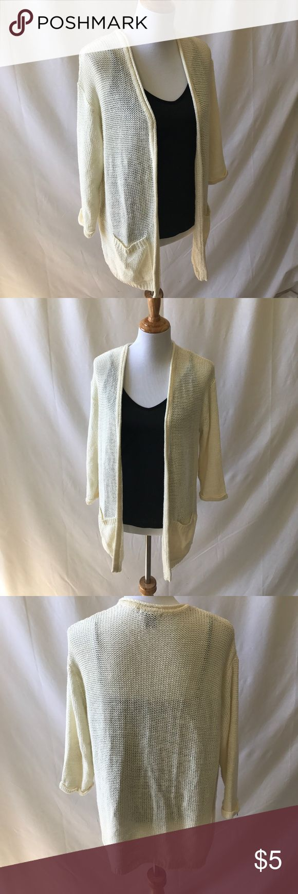 Cream Cardigan *NWOT* A staple for your closet - a cream colored drape cardigan. It has an almost mesh-like pattern to the knit, squishy soft. No tears, loose threads, pulls, or marks. Never been worn. Oversized fit. H&M Sweaters Cardigans