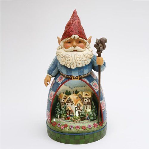 "Jim Shore - Heartwood Creek - Garden Gnome w/Solar Lit Diorama Scene by Enesco - 4011481Q by Jim Shore - Heartwood Creek. $99.88. Dimensions: 19.5"" H x 10"" W x 10"" L. Painted with fade-resistant UV protectant for outdoor durability; bring inside during freezing weather. Solar panel cord 12"" long. Uses four LED lights, lasts up to five hours fully charged. Includes statue and 1 AA rechargeable battery. Gnome with Diorama Scene with Solar Panel brings a new dimension to the class..."