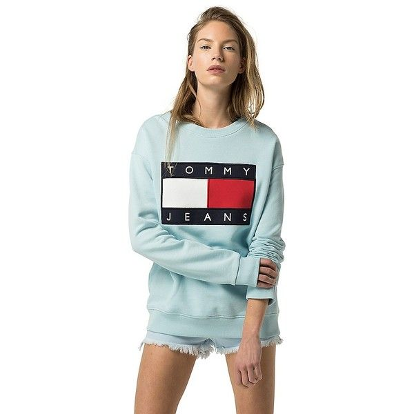 Tommy Hilfiger Tommy Jeans Flag Sweatshirt ($130) ❤ liked on Polyvore featuring tops, hoodies, sweatshirts, oversized tops, tommy hilfiger sweatshirt, tommy hilfiger top, blue top and tommy hilfiger