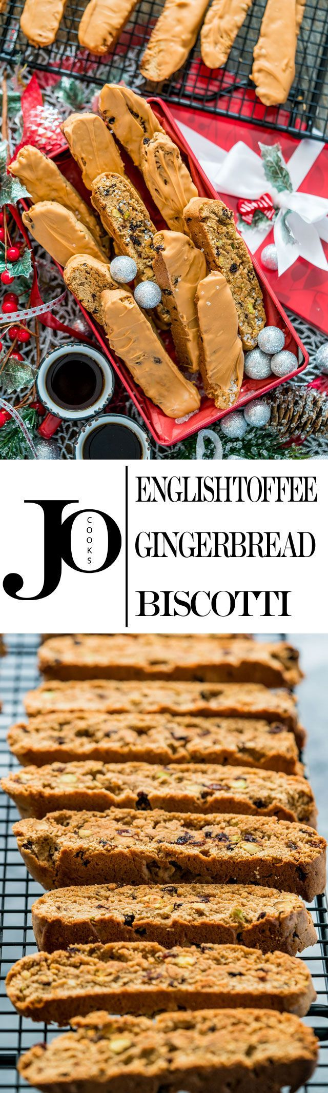 These English Toffee Gingerbread Biscotti are spiced up with lots of ginger, all spice and loaded with pistachios and currants, then dipped in English Toffee! Perfect for your morning cup of joe!