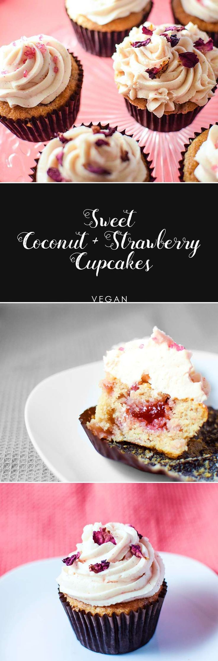 Delectably sweet, coconut and strawberry cupcakes - perfect for birthday parties, shower and just a it of vegan baking!