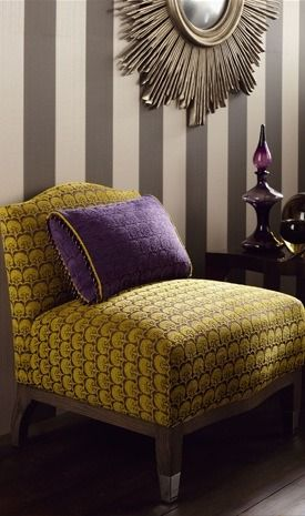 grey white stripes Mustard and Violet and Gray