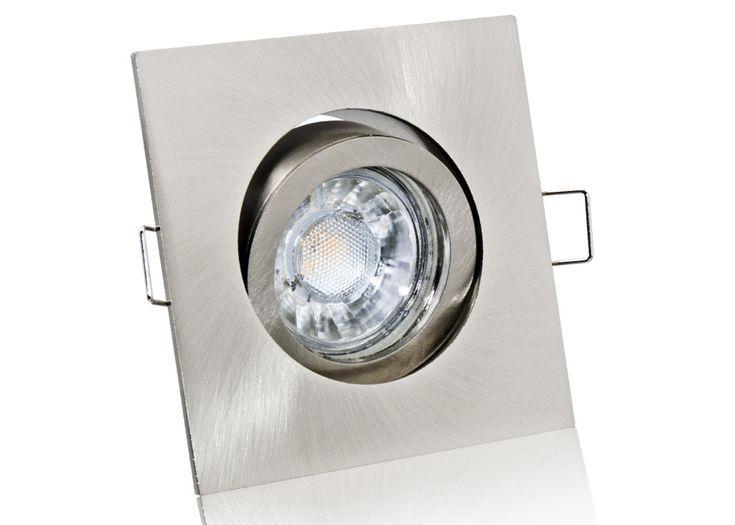 LED Einbaustrahler Set mit Marken GU10 LED Spot Bioledex Helso 3 Watt COB Alu-Druckguß Eckig Klickverschluß