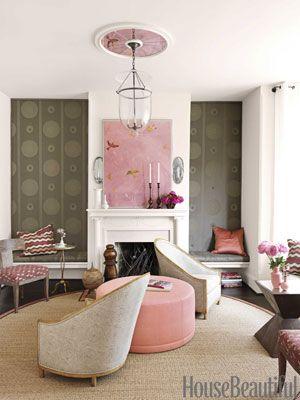 Button-tufted Bergamo fabric on the wall. Designer: Barry Dixon. Photo: Jonny Valiant. housebeautiful.com