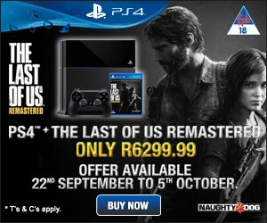 Explore a post-pandemic world with Joel and Ellie on your brand new PlayStation 4.   Winner of over 200 game awards,The Last of Us has been rebuilt for #PS4 and if you visit any of our stores nationwide, you can get a PS4 bundle including this remastered game for only R6299.99 (while stock lasts).