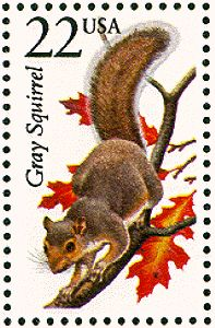 Gray squirrel postage stamp 1987-06-13