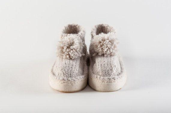 Pantofole Batuffolo calde in lana realizzate a mano