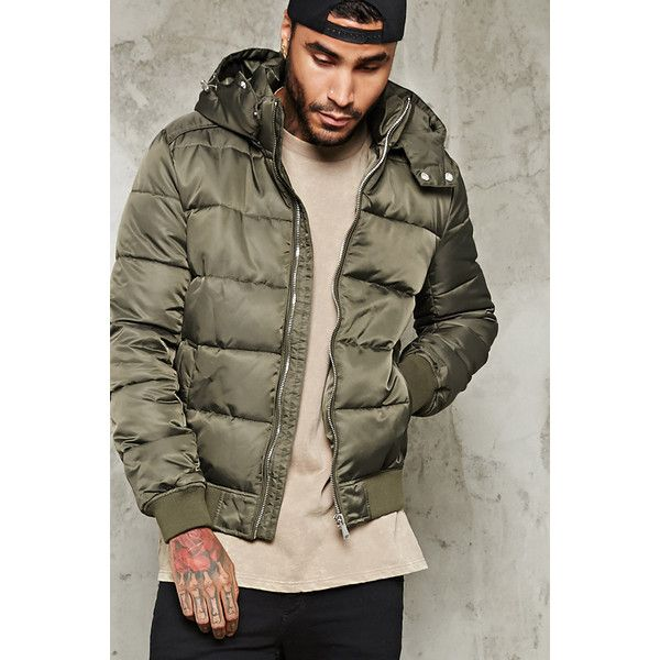 Forever21 Hooded Puffer Parka (83 BAM) ❤ liked on Polyvore featuring men's fashion, men's clothing, men's outerwear, men's coats, olive, mens full length coat, mens fur lined coat, mens hooded coats, mens parka coats and mens hooded toggle coat