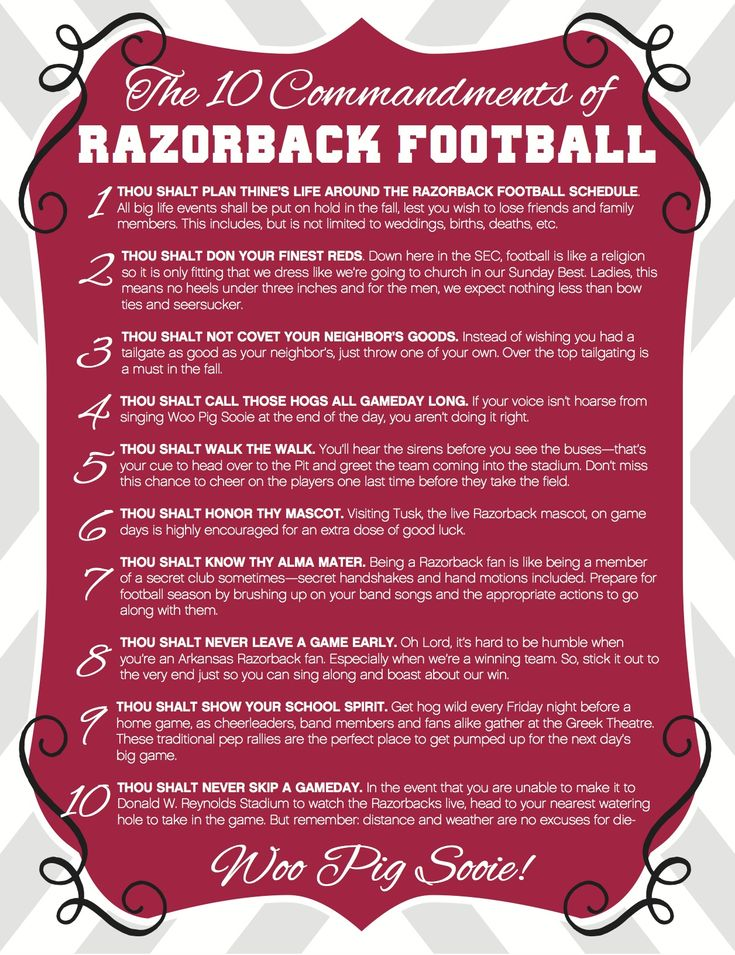 The 10 Commandments of Razorback Football