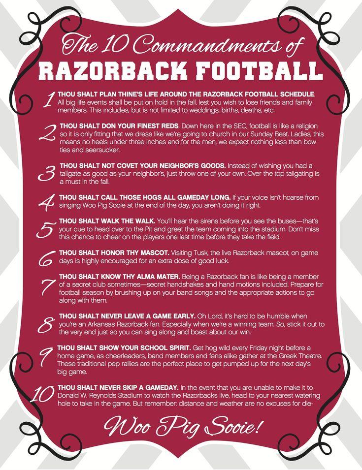 The 10 Commandments of Razorback Football