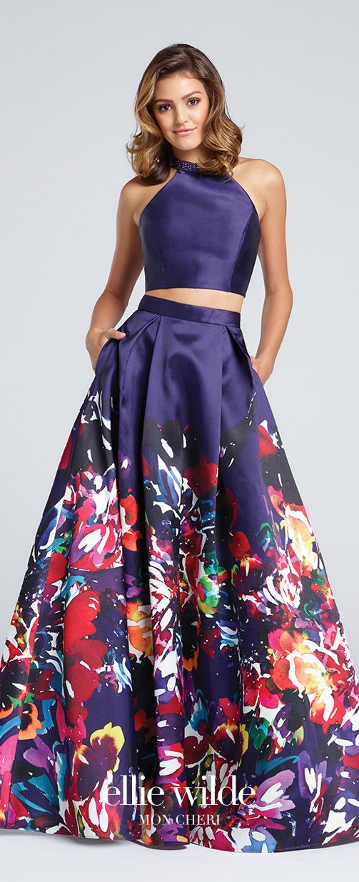 Prom Dresses 2017 - Ellie Wilde for Mon Cheri - Two-Piece Purple Floral Prom Dress with Halter Cropped Top - Style No. EW117005
