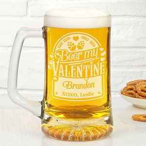 Buy 25oz personalized beer mugs with our Beer My Valentine design. Add name and custom message for free. See more personalized beer mugs at PersonalizationMall.com.