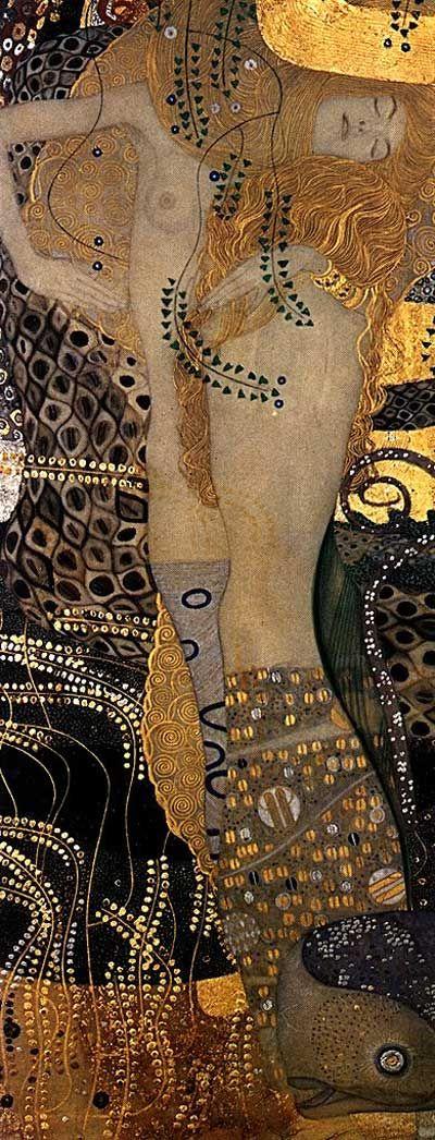Gustav Klimt >> Water Serpents I, 1904-07 - Vienna, Osterreichische Museum für Angewandte Kunst  |  (Oil, artwork, reproduction, copy, painting).