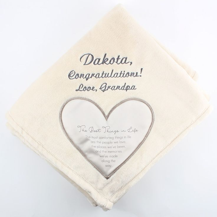 "Best Things in Life Royal Plush Blanket 50x60 - This soft, thick plush blanket is a great way to let someone special know how much they mean to you. Every blanket comes with a satin heart applique in one corner containing comforting words. Choose one of our embroidered designs for above the heart to make it personal.  Message inside the satin heart reads ""The Best Things in Life. The most comforting things in life are the people we love, the places we've been, and the memories we've made…"