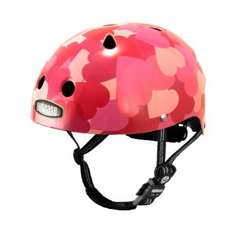 """Nutcase Little Nutty Love Bike Helmet, X-Small by Nutcase. $60.00. All Little Nutty helmets comply with US CPSC Bicycle Helmet Safety Standards for persons age 5 and older. The Little Nutty helmet is size XS, and fits heads 46cm - 52cm or 18"""" - 20.5"""". See the Little Nutty Size Chart to determine a good fit. If your head measurement is 52cm/20.5"""" (maximum size of the Little Nutty XS), we recommend ordering a S-M Street helmet. Each Little Nutty helmet has a built-in Spin Dial Fit..."""