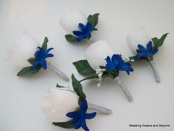 Wedding Flower Ideas For Groomsmen : Royal blue silver and white groomsmen boutonnieres prom