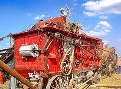 Alte Weizen Dreschmaschine, Landmaschinen
