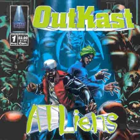 ATLiens didnt sound like a record Warfield said It sounded like a movie And comic books are basically like paper movies So Warfield suggested a cover that resembled a comic book