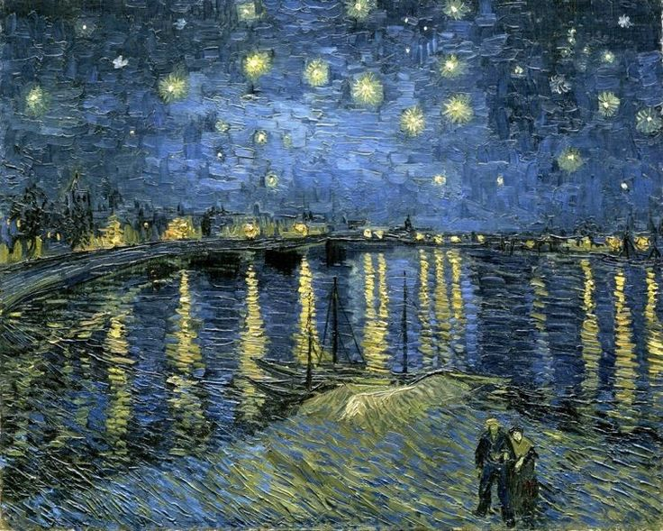 STARRY NIGHT VINCENT VAN GOGH WATER REFLECTIONS PAINTING ART REAL CANVAS PRINT #Realism