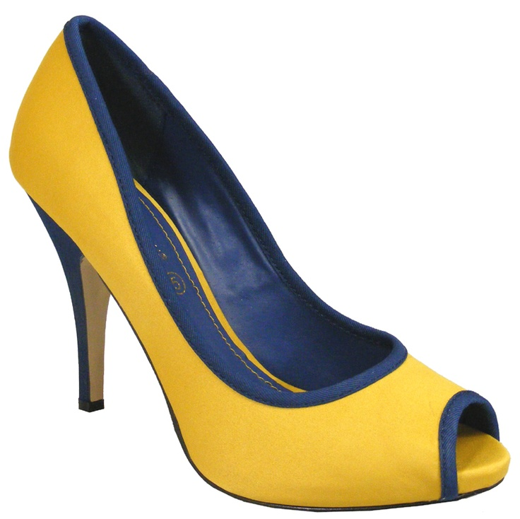 navy and yellow heels outlet online