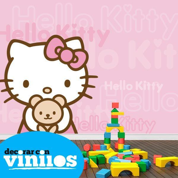 Fotomural Infantil de Hello Kitty Consigue el tuyo en http://www.decorarconvinilos.com/fotomural_infantil